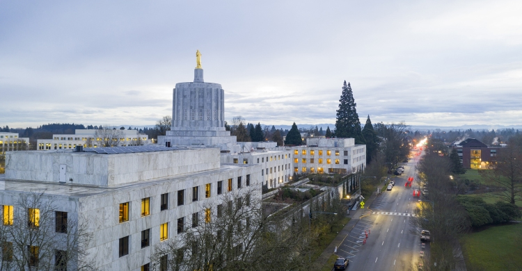 The State Capital Building Adorned With The Oregon Pioneer With